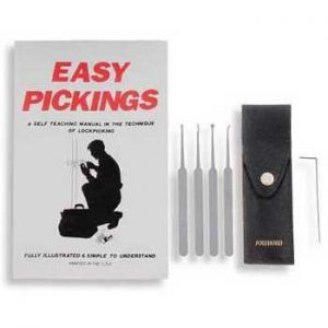 FIVE PIECE LOCK PICK SET AND BOOK-0